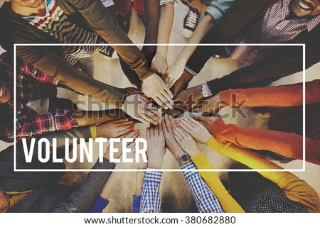 Volunteer Voluntary Volunteering Aid Assisstant Concept #380682880