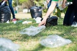 Volunteers picking up trash on a meadow
