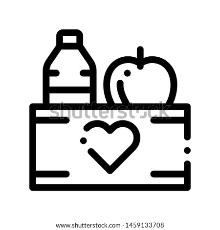 Volunteers Support Food Box Thin Line Icon. Volunteers Support, Help Charitable Organizations, Heart On Package With Apple And Water Bottle Linear Pictogram. Contour Illustration