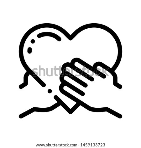 Volunteers Support Hand Hold Thin Line Icon. Volunteers Support, Charitable Organizations, Two Arm Keeping Heart Linear Pictogram. Big Blood Donor Contour Illustration