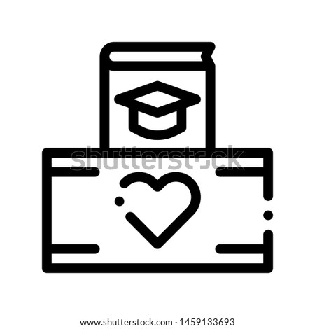 Volunteers Support Study Box Thin Line Icon. Volunteers Support, Help Charitable Organizations, Heart On Package Linear Pictogram. People Silhouette Blood Donor Contour Illustration