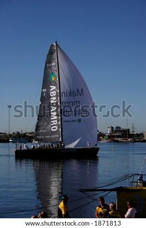 Volvo ocean race 2006. Start of leg 3. ABN AMRO yacht departure (Docklands, Melbourne, Australia). - stock photo