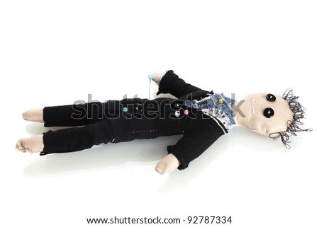 Voodoo doll boy-groom isolated on white