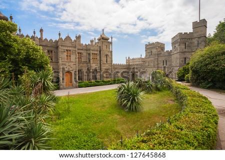 Vorontsov Palace, bushes and mountains, Crimea, Ukraine
