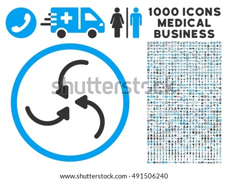 Vortex Arrows icon with 1000 medical business gray and blue glyph pictograms. Set style is flat bicolor symbols, white background.