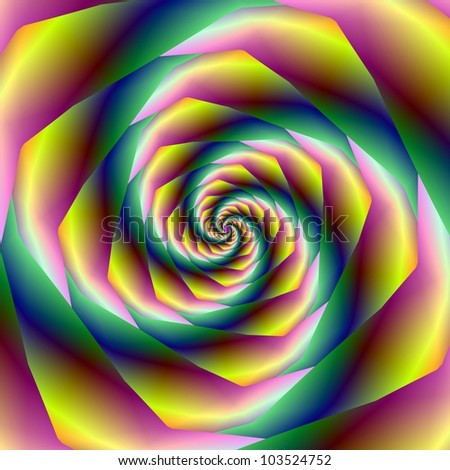 Vortex/Digital abstract image with a spiral design in yellow, pink and green.