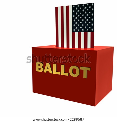 Vote! American Flag symbolically used to cast a ballot. Isolated on a white background.