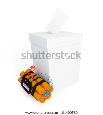 vote box dynamite on a white background