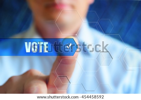 Vote button. Person touch text button Vote with check box. Election, voting, choice concept.
