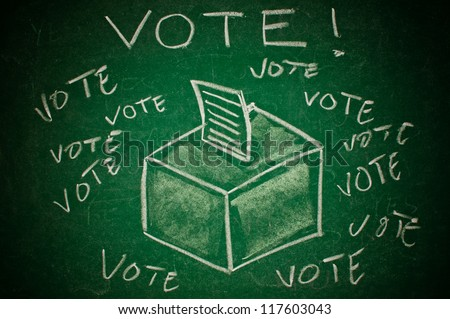 Vote concept. Ballot box on green chalkboard