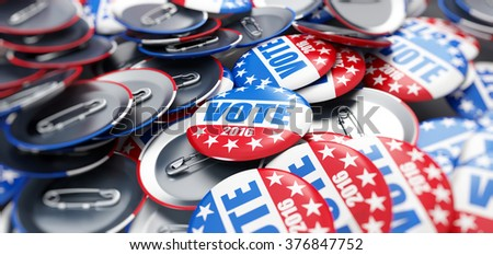 vote election badge button for 2016 background