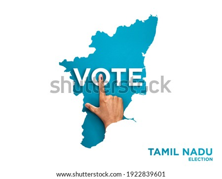 VOTE FOR INDIA TAMIL NADU, male Indian Voter Hand with voting sign or ink pointing out , Voting sign on finger tip Indian Voting on blue background