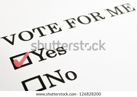 Vote For Me? Yes No Check Boxes Stock Photo 126828200 ...  Vote For Me? Ye...