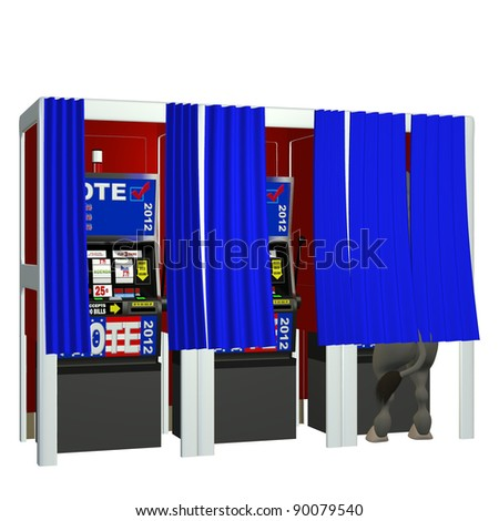 Vote 2012 - Gamble.  Donkey in a voting booth playing the slot machines. Isolated on a white. Political humor.