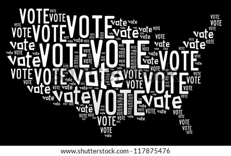 Vote info-text graphics arrangement concept composed in United State map shape on black background