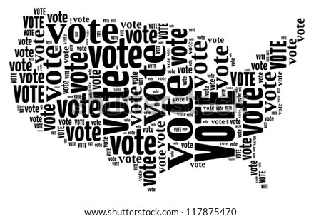 Vote info-text graphics arrangement concept composed in United State map shape on white background