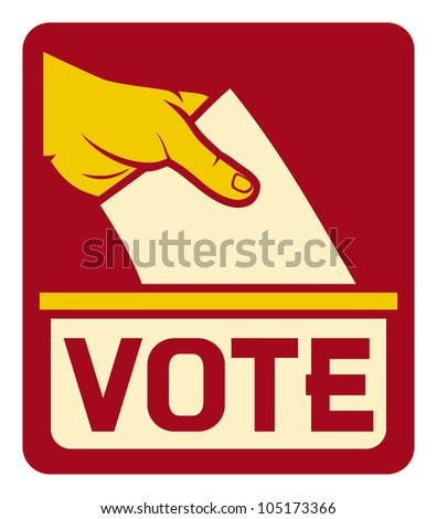 vote label (vote symbol, vote icon, ballot box, hand putting a voting ballot in a slot of box)