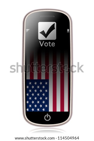 Vote on phone composite on white background