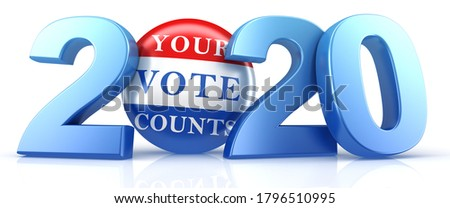 Vote 2020. Red, white, and blue voting pin in 2020 with Your Vote Counts text. 3d render. Stock photo ©