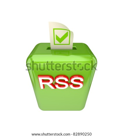Vote RSS concept. 3D rendered. Isolated on white background.