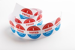 Vote symbol stickers Isolated on White Background, 2020 US elections, panorama, copy space