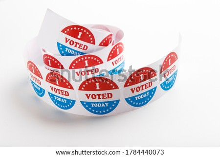 Vote symbol stickers Isolated on White Background, 2020 US elections, panorama, copy space Stock photo ©