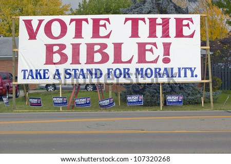 Vote The Bible election 2004 campaign sign in a rural southern Ohio neighborhood