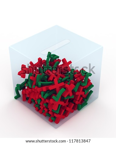 voters in the form of crosses and ticks in the ballot box. Isolated on white background