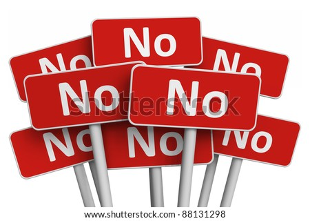 Voting and protest concept: Set of red No signs isolated on white background