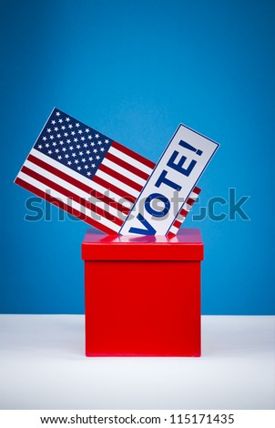 voting ballot and box on Flag of USA