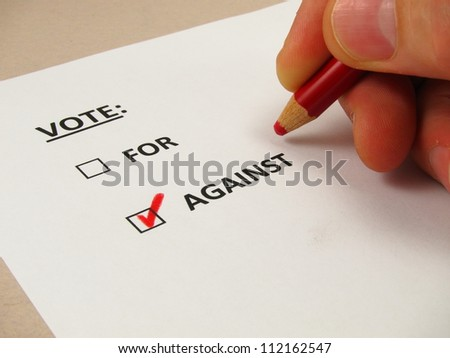 Voting ballot with 'against' box checked
