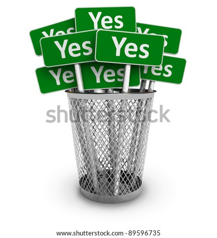 Voting concept: Set of green Yes signs in metal office bin isolated on white background