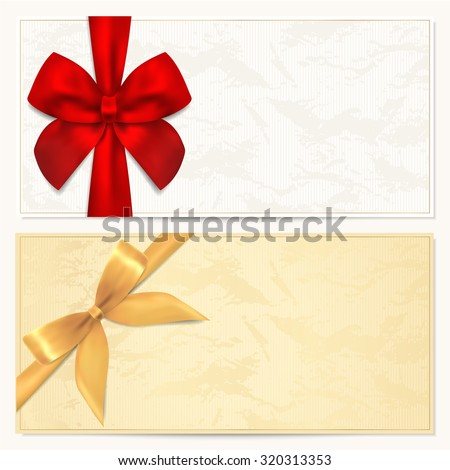 Voucher, Gift certificate, Coupon, Gift money bonus or Gift card blank template with red, gold bow (ribbon). Background for reward design, invitation, ticket, banknote, currency, check (cheque), flyer