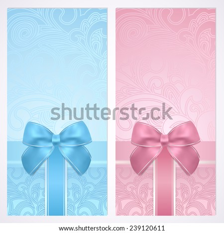 Voucher, Gift certificate, Coupon template with gift bow (ribbons, present). Holiday (celebration) blue background design (Christmas, Birthday) for invitation, banner, ticket