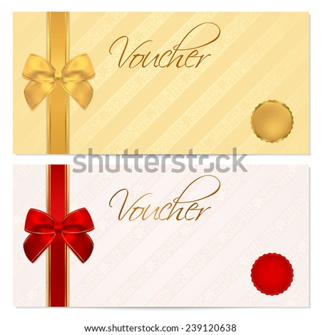 Voucher, Gift certificate, Coupon template with stripe pattern, red and gold bow. Background for invitation, money design, currency, note, check (cheque), ticket, reward on birthday, christmas etc.