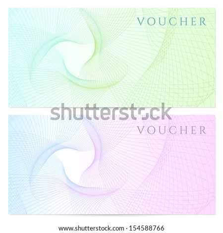 Voucher, Gift certificate, template with colorful guilloche pattern (watermark, spirograph). Blank background for banknote, money design, currency, note, check (cheque), ticket, reward