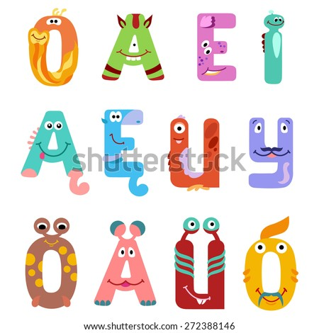 Vowels of the Latin alphabet like different monsters / There are vowels of the Latin alphabet with eyes, mouths, and ears. The letters belong to English, Polish and German alphabet
