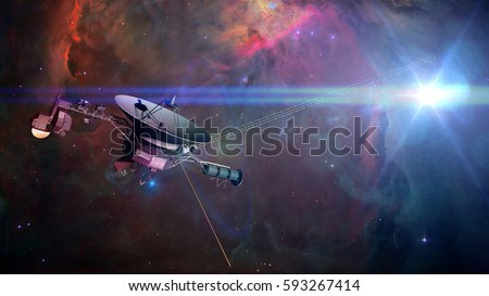 Voyager spacecraft in front of a nebula in deep space (3d illustration, elements of this image are furnished by NASA)