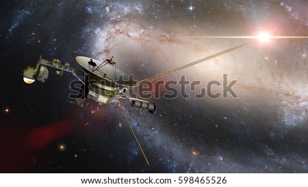 Voyager spacecraft in front of the Milky Way  galaxy and a bright nearby star in deep space (3d illustration, elements of this image are furnished by NASA)