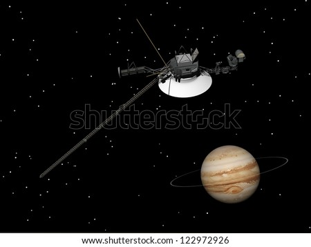 Voyager spacecraft near Jupiter and its unrecognized ring by night - Elements of this image furnished by NASA