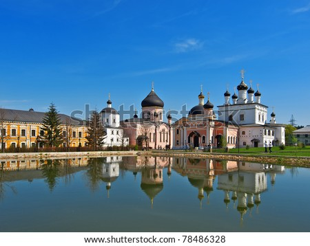 Voznesenskaya Davidova pustin orthodox monastery in Russia - stock photo