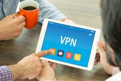 VPN CONCEPT ON TABLET PC SCREEN