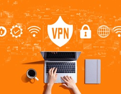 VPN concept with person using a laptop computer