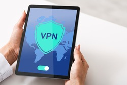 VPN Virtual Private Network App Opened On Digital Tablet In Female Hands. Unrecognizable Lady Using Modern Technologies For Personal Data Security And Protection, Creative Collage, Closeup