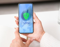 VPN Virtual Private Network App Opened On Smartphone In Woman's Hands, Unrecognizable Female Using Modern Application For Syber Security And Information Privacy, Creative Collage