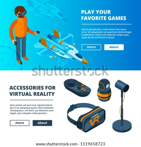 VR banners. Virtual game simulation portable reality equipment helmet headset glasses isometric pictures