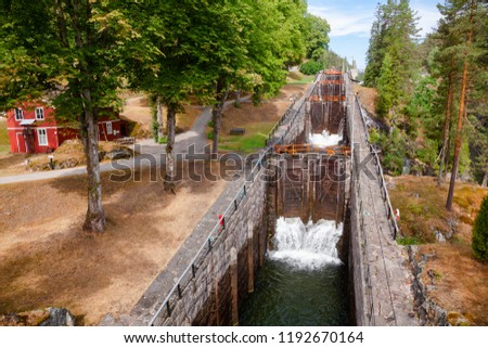 Vrangfoss staircase locks, the biggest lock and major tourist attraction on the Telemark Canal that connects Skien to Dalen in Telemark County, Norway