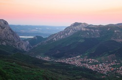 Vratzata at sunset. Vratzata is a beautiful mountain pass in Balkan Mountains, near the Bulgarian town of Vratza. One of the best places for climbing in Europe.