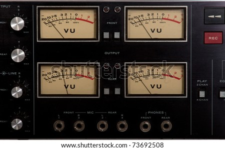 vu meter recording studio tape recorder record button - stock photo