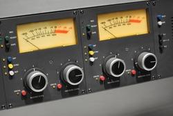 VU meter reel to reel tape recorder close up.